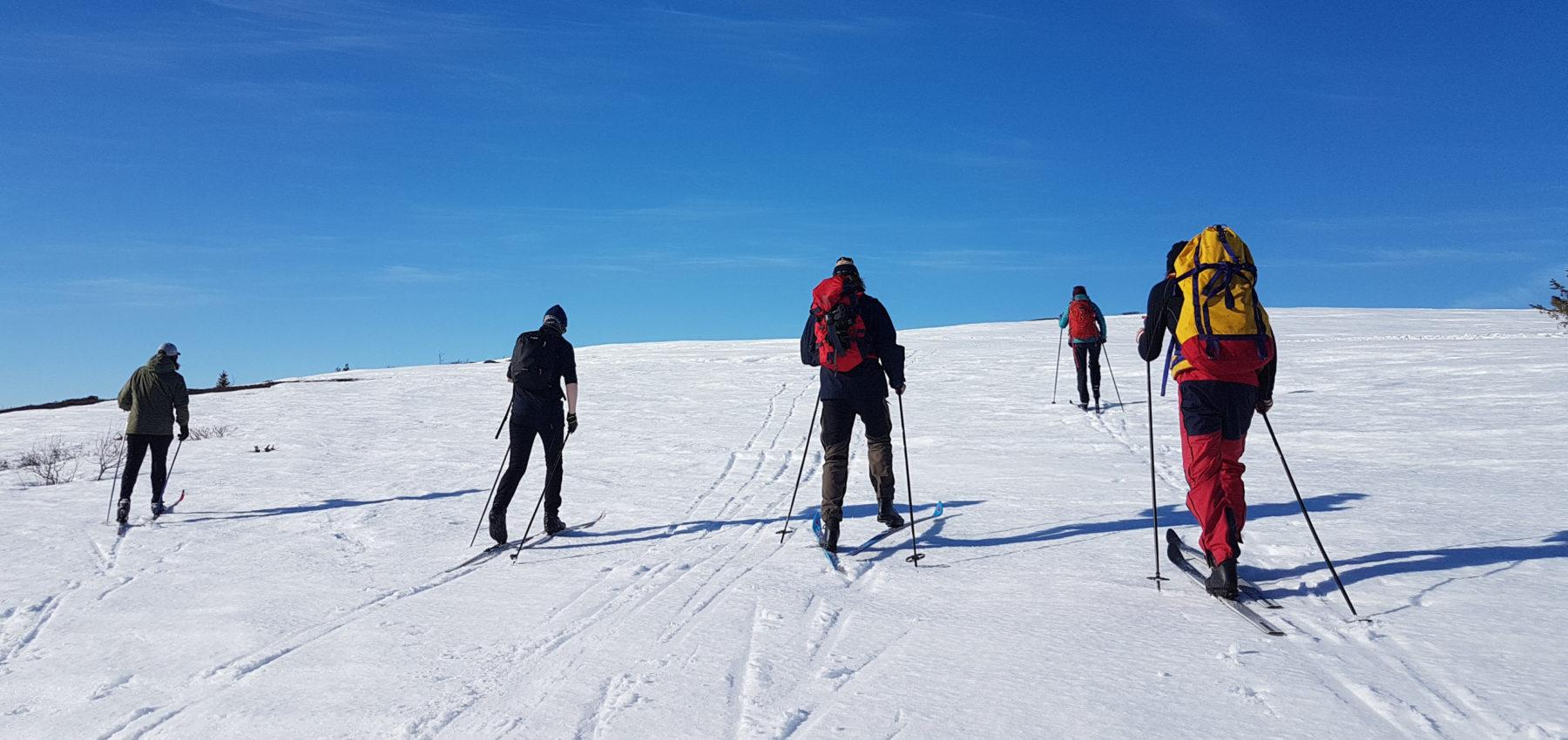 En vennegjeng på skitur under blå himmel.